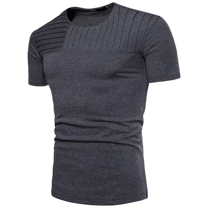 Men's short-sleeved T-shirt fashion tshirts solid color Stripe Design O Neck men short sleeve sleeved mens clothing t shirts