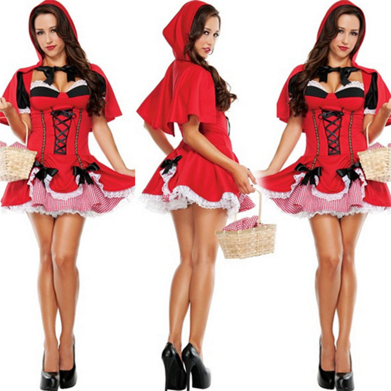 Adult female Little Red Riding Hood performance costume sexy  princess cosplay dress Christmas Halloween masquerade cos clothing