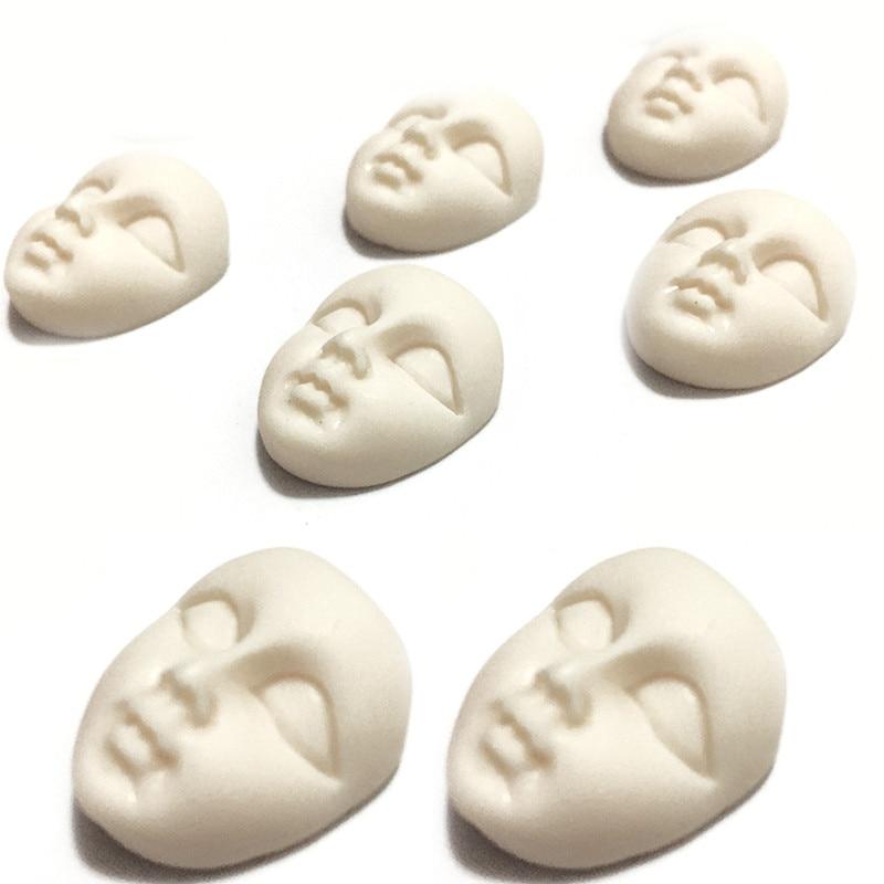Mini Masks Resin Mask Flatback Cabochon Beige Girl Face Flatback Scrapbooking Diy Hair Bow Center Crafts Making Ornaments 10Pcs