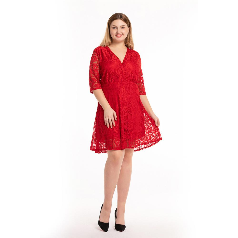 Robe femme ete 2019 Women Summer Red Lace Dress Sexy V Neck 1/2 Sleeve Big Size <font><b>7XL</b></font> A-Line Club Party Mini Dress <font><b>Vestido</b></font> <font><b>mujer</b></font> image