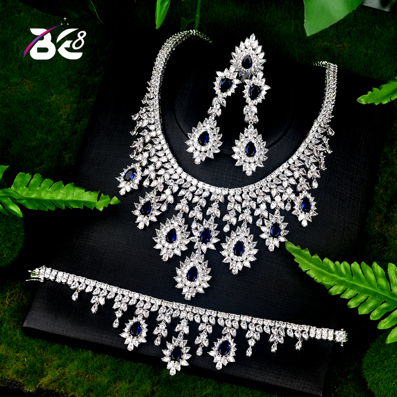 Be 8 Luxury Bridal Wedding Jewelry Sets AAA CZ Classic Design Women 4pc Set Engagement Ceremony and Anniversary bijoux femmeS072