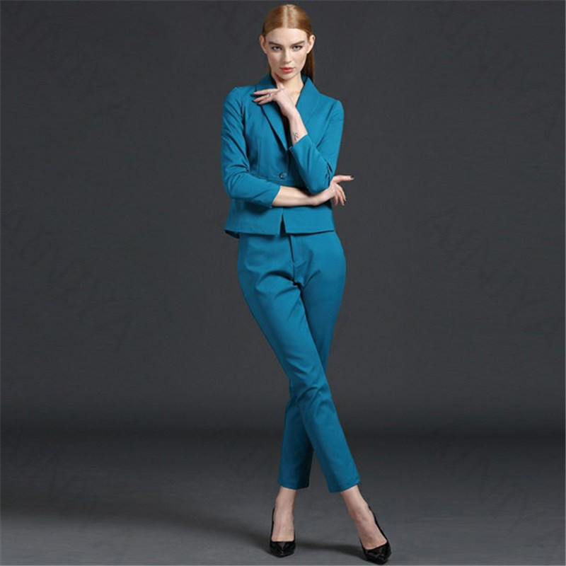 Back To Search Resultswomen's Clothing Strong-Willed Lake Blue Women Business Suits Formal Office Suits Work Slim Fit Female Touser Suit Ladies Formal Wear 2 Piece Suits Custom Made Clients First Pant Suits