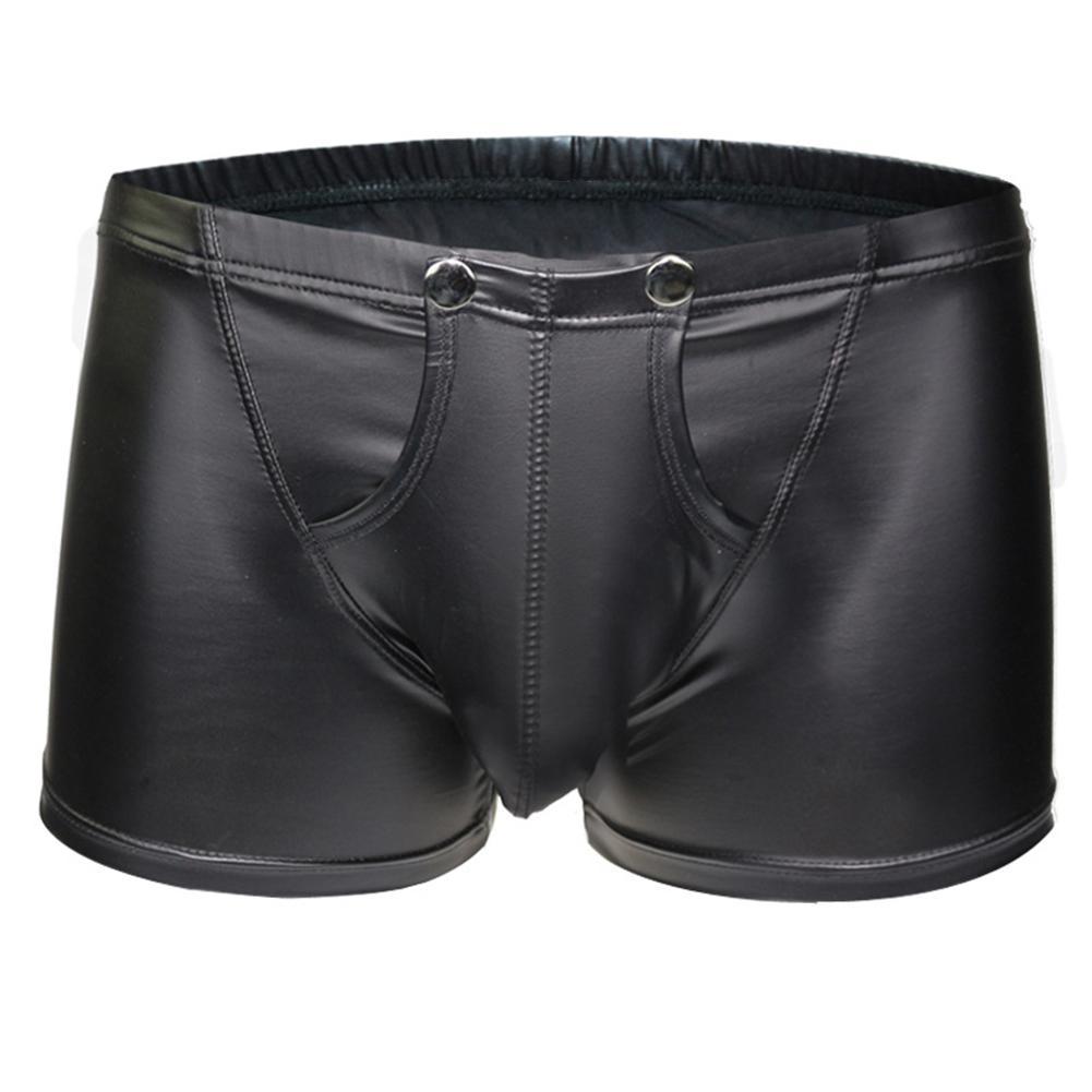 Sexy Open Bulge Pouch Men's Boxers Underwear Faux Leather Shorts Underpants New