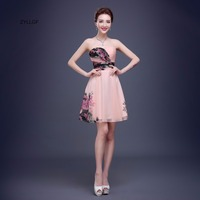 ZYLLGF Short Printed Chiffon Prom Dresses A Line Sweetheart Corset Back Homecoming Dress Cheap Party Gown Imported Q110