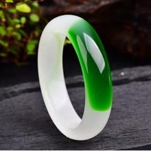"""AAA широкий браслет """"версия"""" Китайский зеленый браслет с нефритом 58 мм-64 мм ручной резной браслет очаровательный натуральный камень ювелирные изделия KYY8757"""