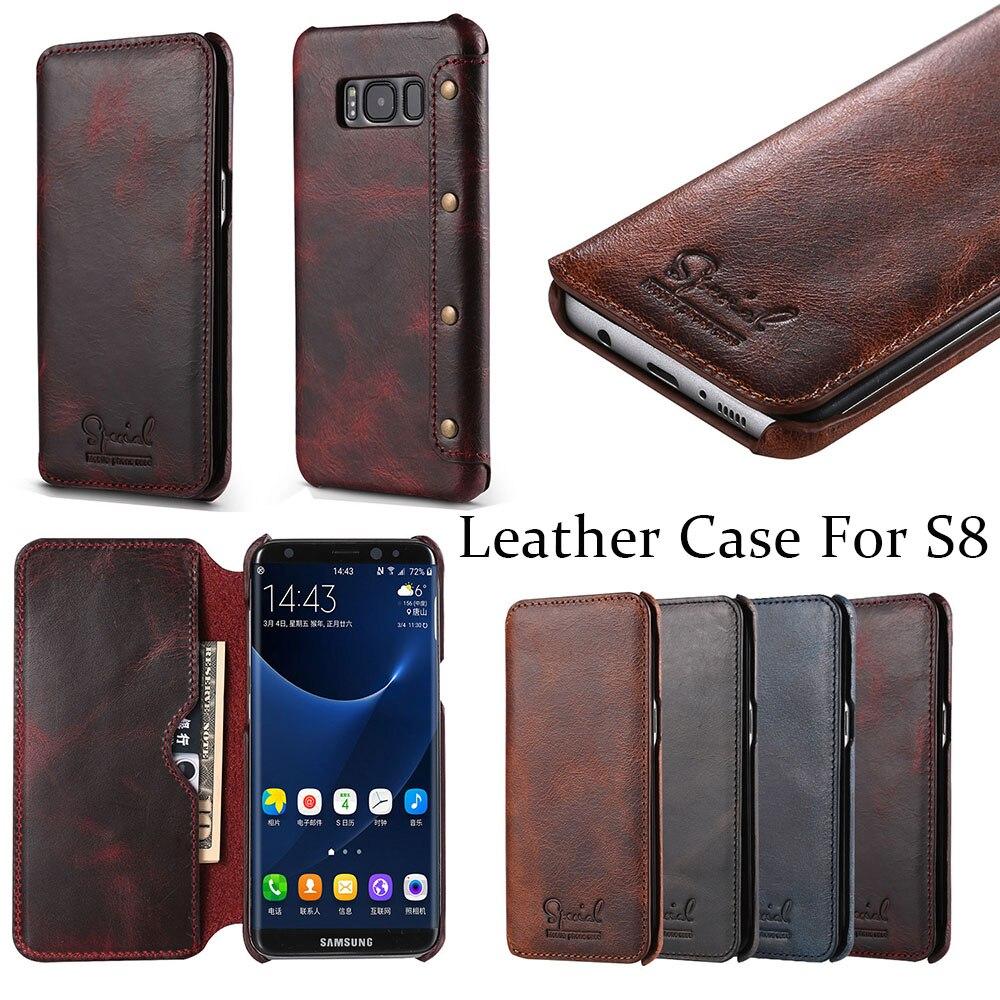 imágenes para 100% del Negocio del cuero Genuino Casos para Samsung Galaxy S8PLUS Cubierta Tirón de la Carpeta para Galaxy S8 S8 S8 más Artesanal