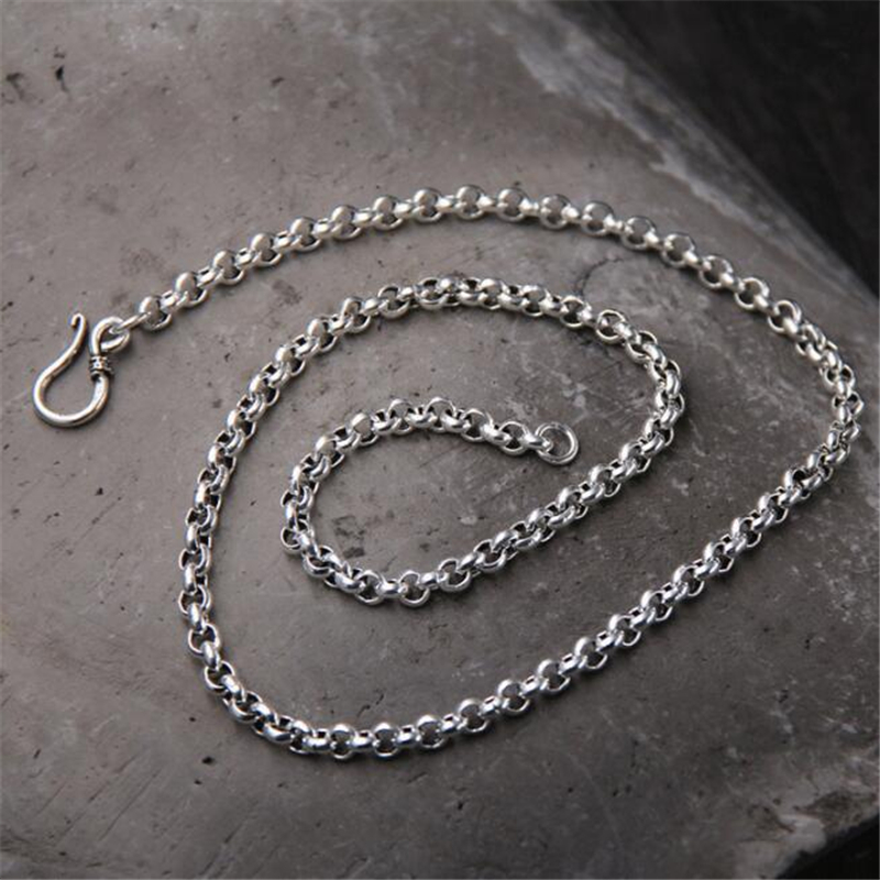 Women Men 925 Sterling Silver O Link Chain Necklace Fashion Silver Jewelry 5mm 50cm 55cm 60cm 65cm 70cm 75cm 80cm in Necklaces from Jewelry Accessories