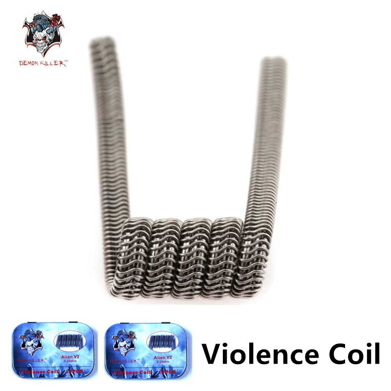 Demon killer Electronic Cigarette Heating coil with T-shaped screwdriver Alien V2 Framed Clapton Prebuilt Coils For RDA Atomizer