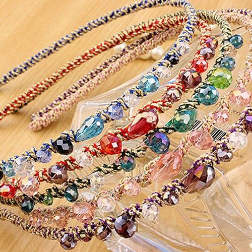 Women Colorful Hair Hoop Irregular Crystal Beads Gold Wire Girl Hairband Headband Hoop Accessories 7 Colors