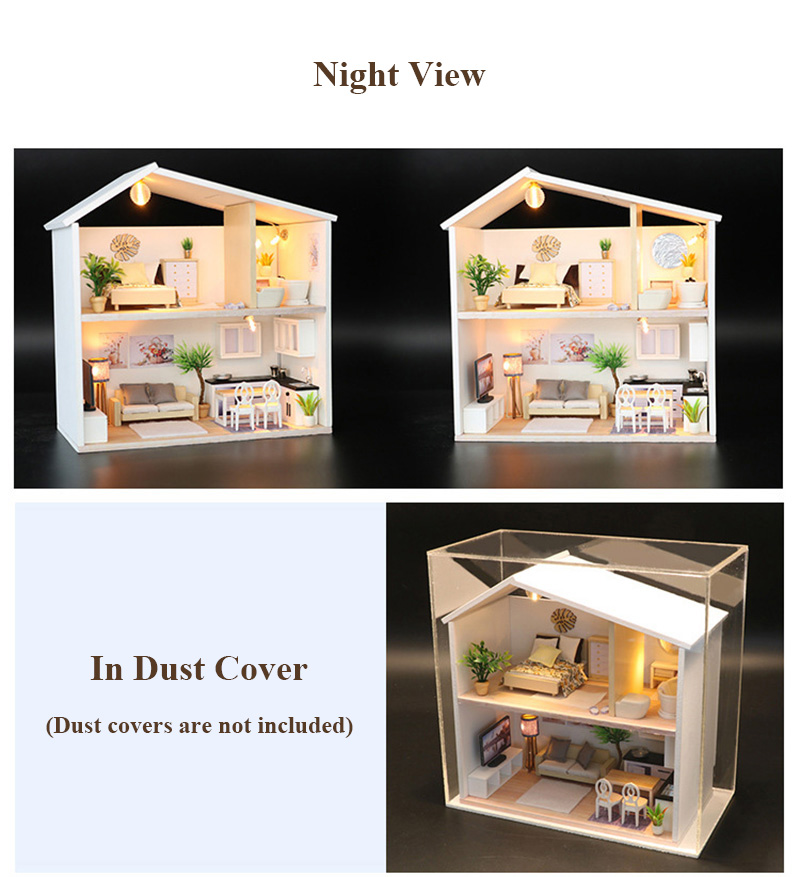 DIY Doll House Wooden Miniature Dollhouse Furniture Assemble Kits 3D Handmade Mini Dollhouse Toys for Children Birthday Gifts Light Time (5)