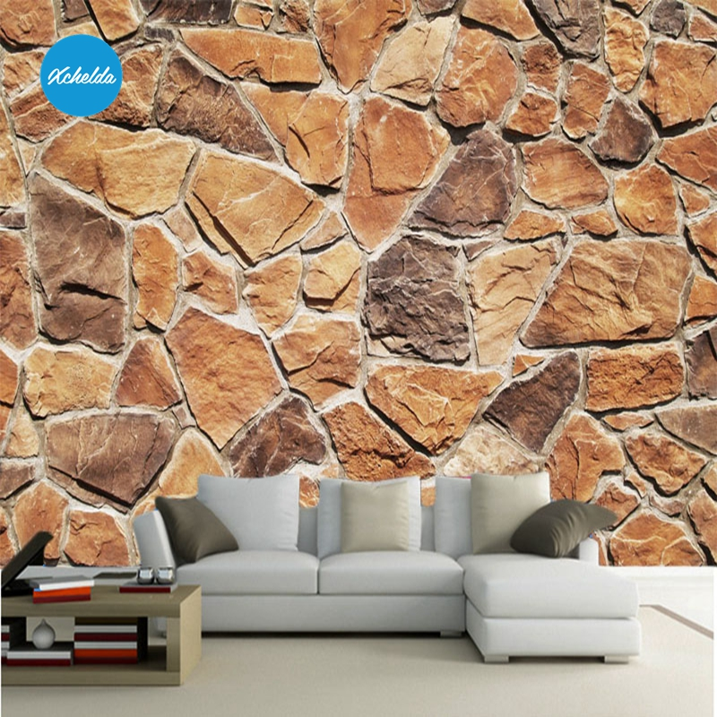 XCHELDA 3D Mural Wallpapers Custom Painting Stone Brick Design Background Bedroom Living Room Wall Murals Papel De Parede custom 3d wall murals wallpaper luxury silk diamond home decoration wall art mural painting living room bedroom papel de parede