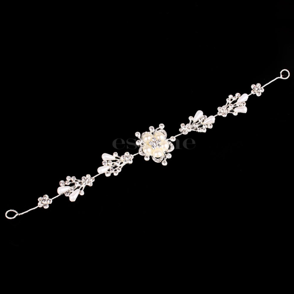 E74 Free Shipping Wedding Bridal Pearl Flower Crystal Tiara Prom Crown Headband Hair Accessory недорого