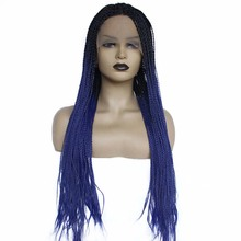 Ombre Blue Synthetic Lace Front Braid Wig Heat Resistant 180% Density Braids Wig for Black Women African American Hair
