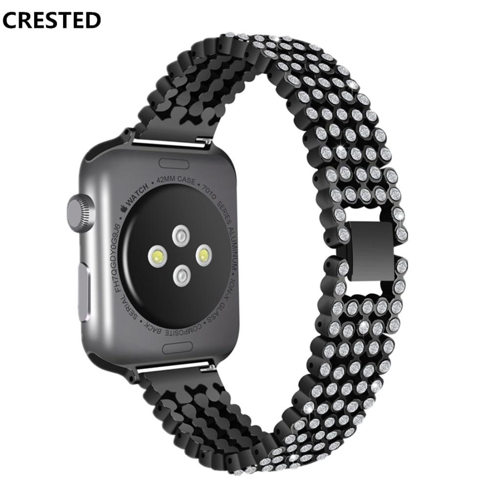 CRESTED de lujo del diamante de la correa de reloj Apple Watch banda 44mm 42mm cristal elegante iWatch serie 4 3 2 1 40mm/38mm pulsera de muñeca Correa