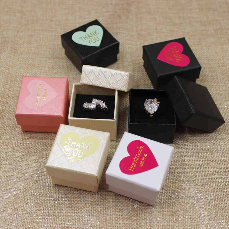 30pcs per lot 4*4*3cm Fashion High Quality Paper Ring Boxes gift box with sticker label decoration jewerly box for ringpaper ring boxring boxquality ring boxes -