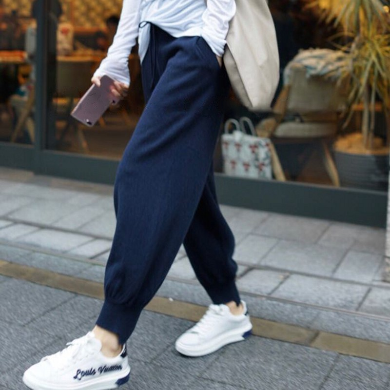 JVEII Women fashion cashmere knit casual   pants   sports high waist loose harem   pants   nine   pants     wide     leg     pants   casual blue