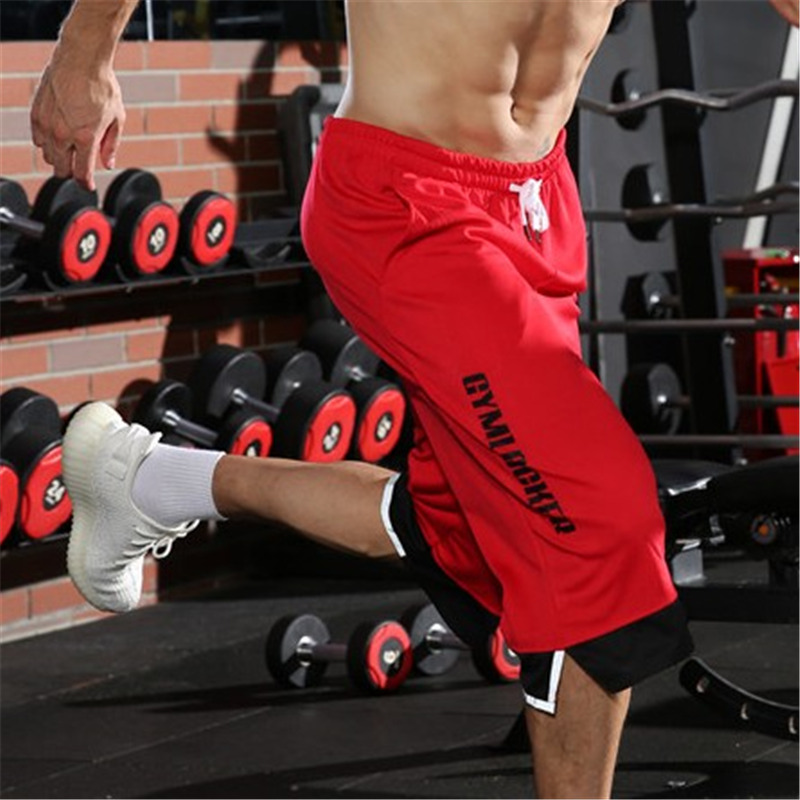 New Men Gyms Fitness Red Shorts Summer Casual Fashion Cool Short Pants Male Jogger Bodybuilding Workout Man Brand Sweatpants