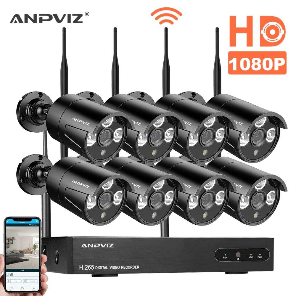 Anpviz 1080 p CCTV Système 8ch HD Sans Fil NVR kit HDD Options En Plein Air IR Vision Nocturne IP Wifi Caméra de Sécurité système de Surveillance