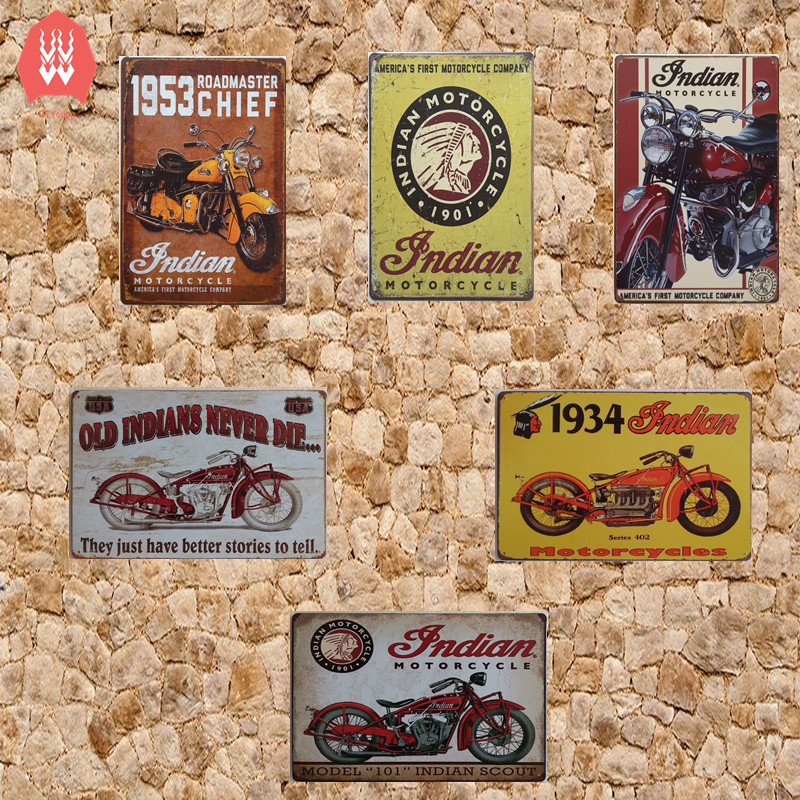 vintage home decor tin sign indian motorcycle metal signs craft poster store decor retro metal plates for wall 2030cm - American Home Decor Stores