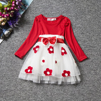 ChanJoyCC Girl's Net Yarn Leisure Formal Dress Baby Girl Long Sleeve With Bowknot And Flowers Princess Dress Cotton