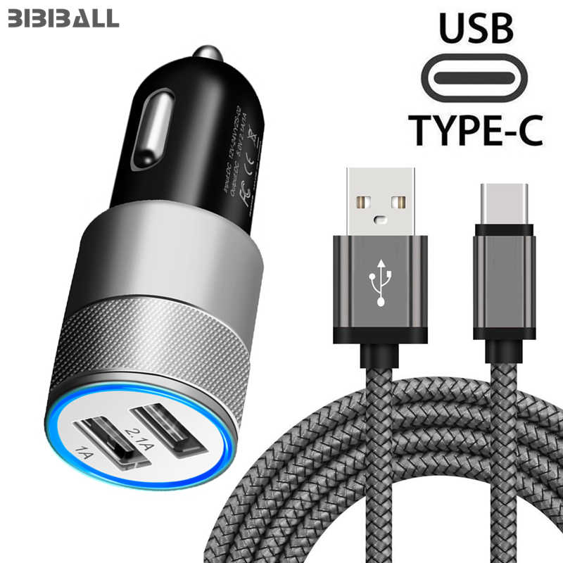 Dual 2.1A USB Car Charger Adapter + 1 m USB C Snel Opladen Kabel voor Samsung Galaxy A3 A5 A7 2017 Samsung S8 S9 S10 A8 2018 Koord