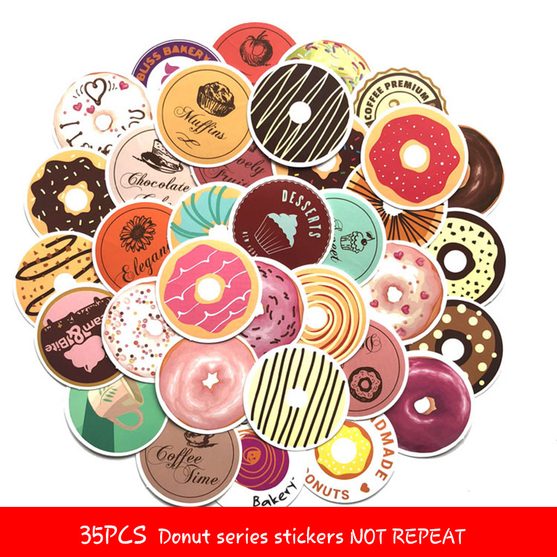 2018 DIY 35pcs Donuts Series Waterproof Sticker Gift Posted Baking Decoration Label Doodle Coffee Home Bakery Unique Novel