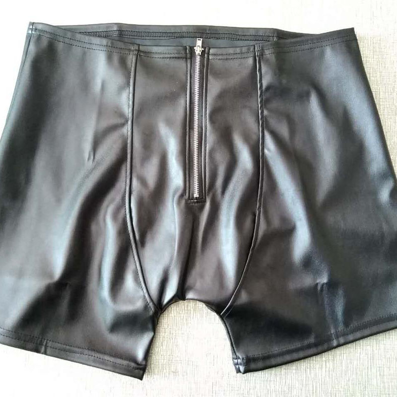 Sexy Open Hip Front Zip Underwear Men Black Patent Leather Boxers Shorts Man Capsule Underpants Calzoncillos Hombre Boxer Marca