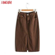 18ab6c2bf7f Tangada женские коричневые джинсовые юбки высокая посадка на пуговице  карманы джинсы юбка Ретро Уличная одежда женский