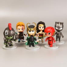 Home decoration Marvel Cinematic Q version of the Avengers full set steel spiderman toy US captain Micro-view