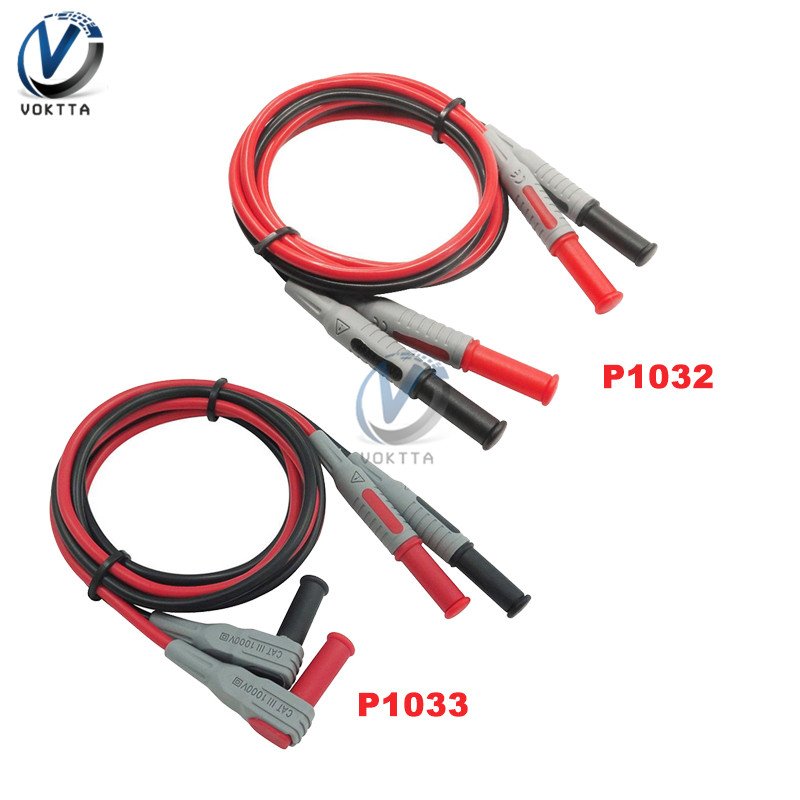 Right Angle to Straight Anti-Slip Banana Plug Test Cable Banana Test Line Banana Lead 1000V 15A for Multimeter Testing Instrument