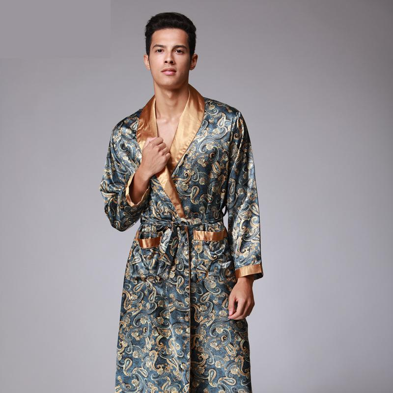 Summer Dragon Print Silk Robes Male Senior Sleepwear Satin Pajamas Long Kimono
