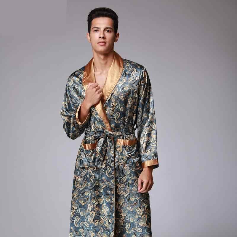 Mens Summer Dragon Print Silk Robes Male Senior Satin Sleepwear Satin  Pajamas Long kimono Dressing Gown c7111a2ad