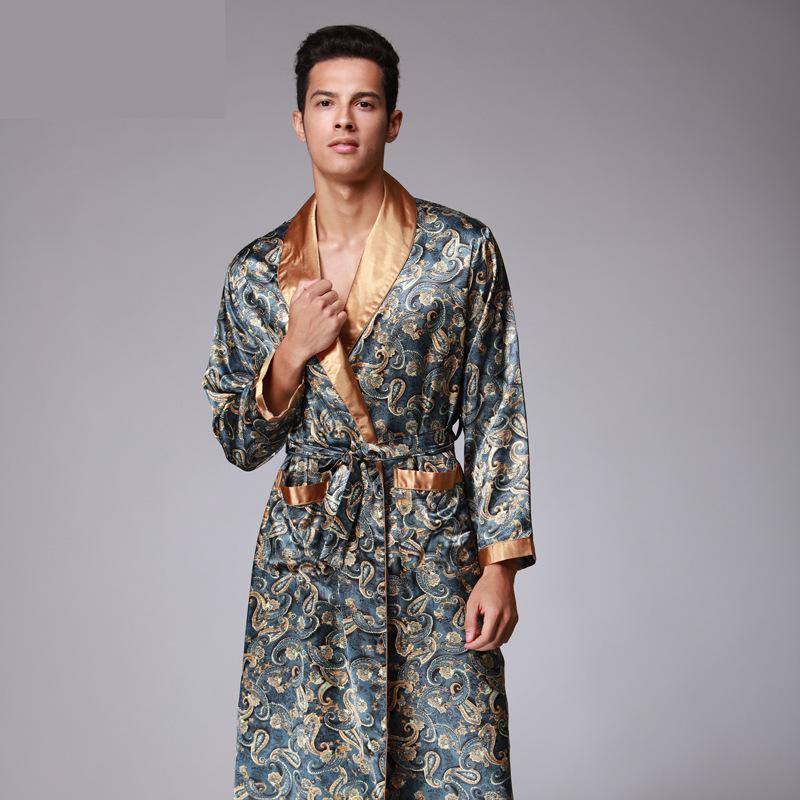 Mens Summer Paisley Print Silk Robes Male Senior Satin Sleepwear Satin Pajamas Long Kimono Dressing Gown Bathrobe For Man