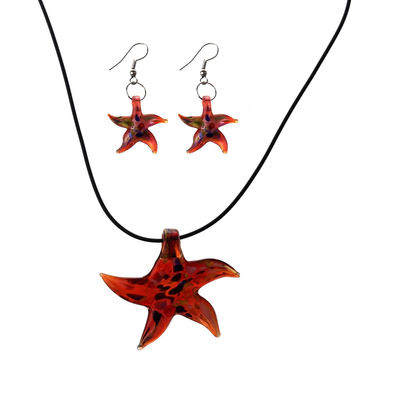 Мурано Морская звезда ожерелье серьги красный