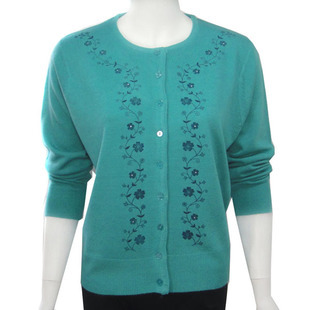 Women's embroidery tops sweater fashion all-match mother clothing cardigan women sweater plus large size sweatershirt  XXXL 4XL