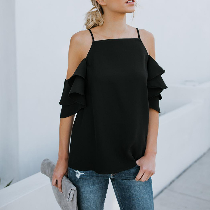 Fashion Women off shoulder shirts Ladies Summer top 2018 ruffles Short Sleeve Shirt Loose Casual Blouse women Tops sexy shirt