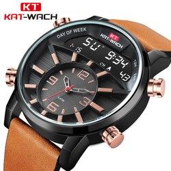 Los hombres de alta calidad de cuero marrón deporte nadar Relojes LED Digital reloj de cuarzo militar impermeable 50 M Dual pantalla reloj