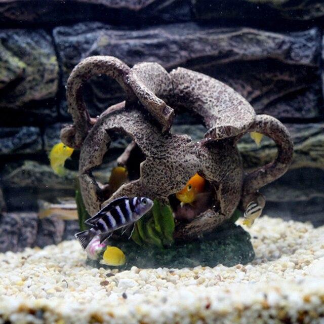 Hars Oude Egyptische Verbrijzeld Cave Vaas Aquarium Decoratie Voor Vissen Verstopt Aquarium Kunstmatige Huis Ornament Achtergrond
