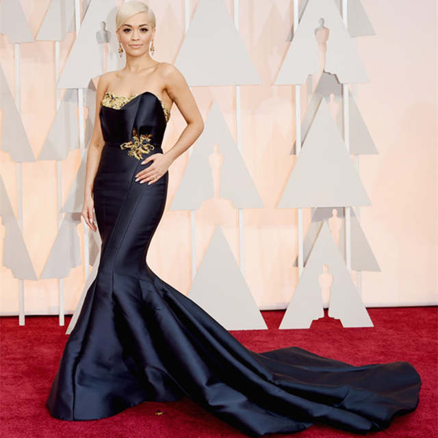1e31b6b76de1 Online Shop 2016 87th Oscar Academy Awards Rita Ora Celebrity Dress Mermaid  Red Carpet dress formal Gowns with Golden Decoration | Aliexpress Mobile