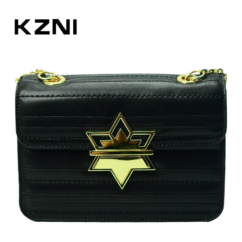 KZNI Genuine Leather Purses and Handbags Women Messenger Bags for Women 2017 Women Shoulder Bag Sac a Main Bolsa Feminina 1426