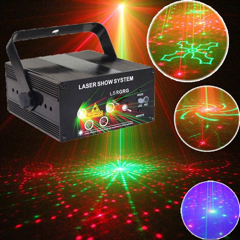 Verde rojo láser Lumiere LED azul Luz de discoteca y equipo de música para la fiesta, luces de la máquina sobre el Control remoto Soundlights