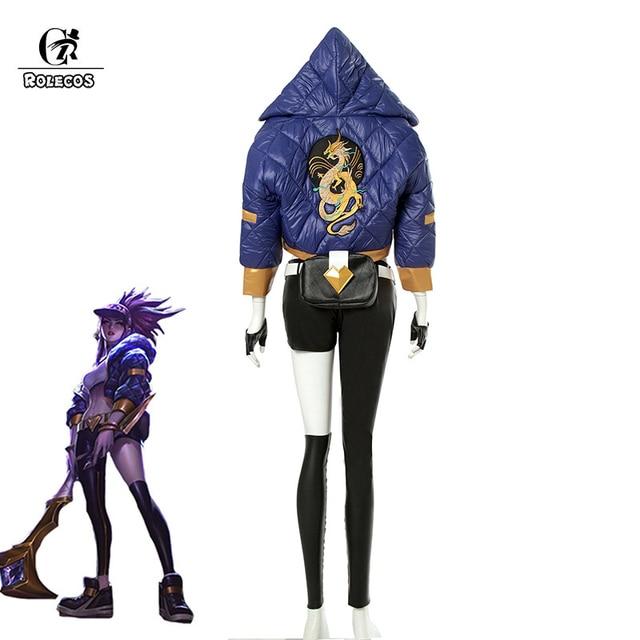 ROLECOS KDA Akali Cosplay Costume LOL AKALI Cosplay Costume LOL K/DA Women Outfit Coat Pants Gloves Bag Halloween