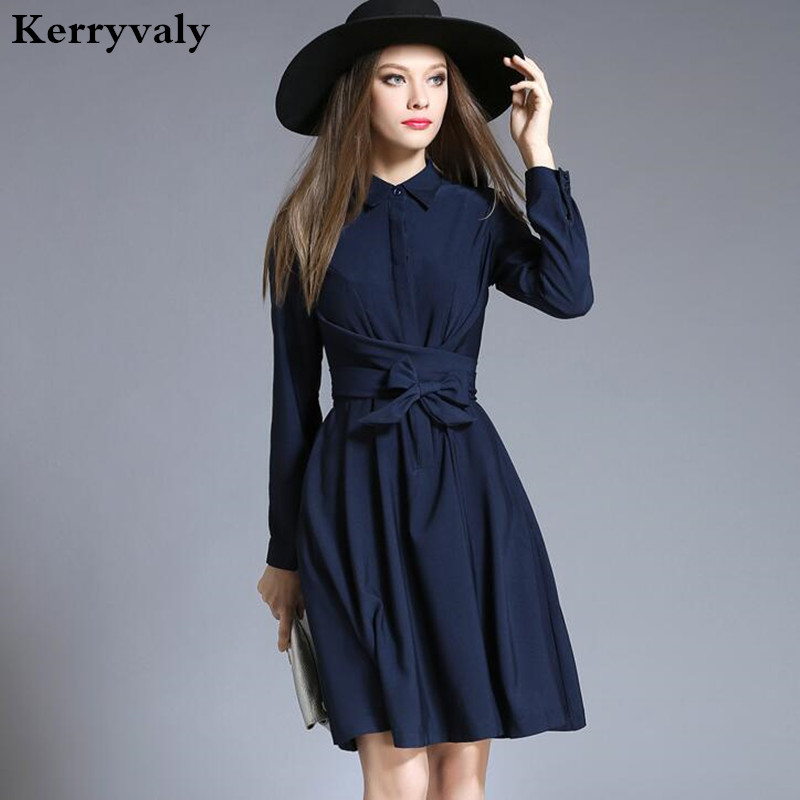 ol navy blue long sleeve shirt dress vetement femme 2017 autumn clothes women dashiki office. Black Bedroom Furniture Sets. Home Design Ideas