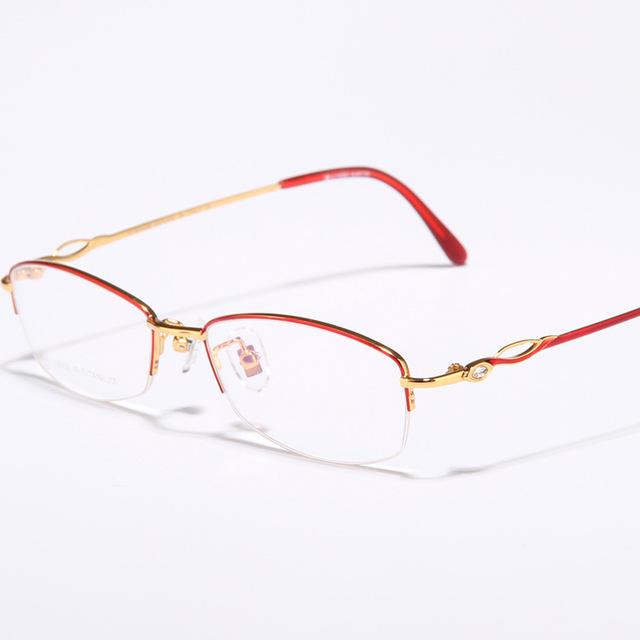 Nuevas mujeres de lujo de estilo hembra marco titanium del marco óptico mitad gafas graduadas marcos g8008