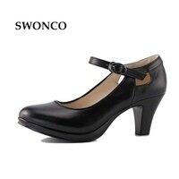 Barato Zapatos OL de tacón alto de mujer de 35-40size, de piel auténtica, color negro, tacón cuadrado, con punta redonda, correas gruesas, zapatos de tacón, sandalias