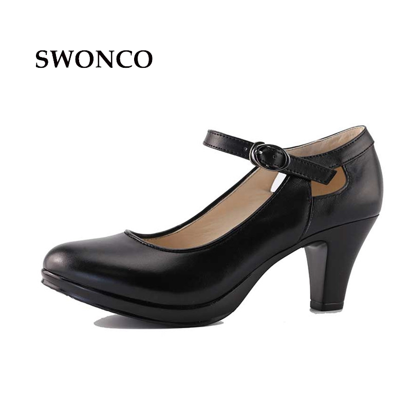 Zapatos de cuero genuino 35-40 tamaño negro tacón alto tacón mujer OL Zapatos con punta redonda Gruesas correas Bombas Sandalias Zapatos