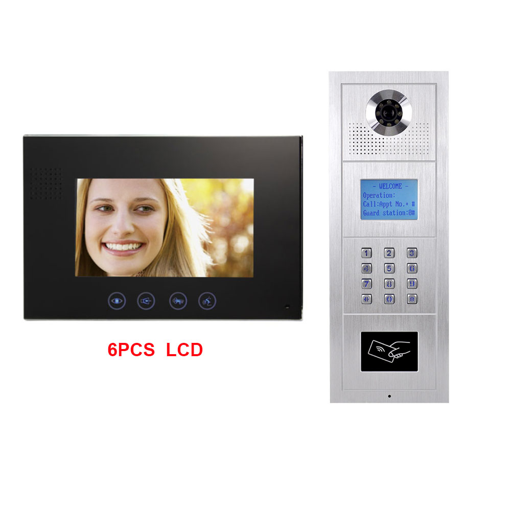 7 zoll LCD Monitor Legierung Farbe HD IP55 Wasserdichte Kamera Digital Multi-Wohnung Gebäude Video Doophone Intercom System 6 LCD