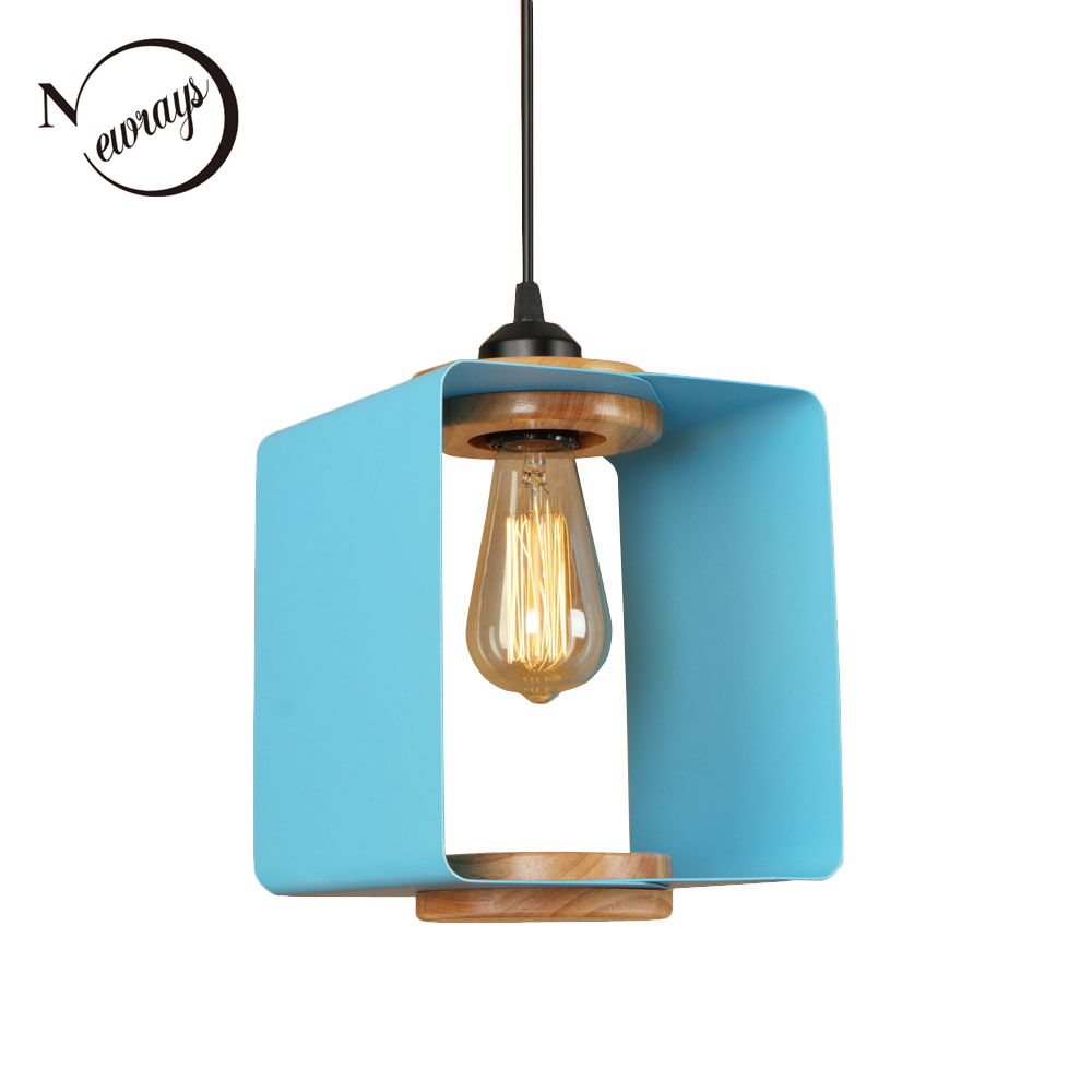 Loft country square iron wood pendant light LED E27 modern vintage hanging lamp with 4 colors for cottage parlor lobby shop cafe
