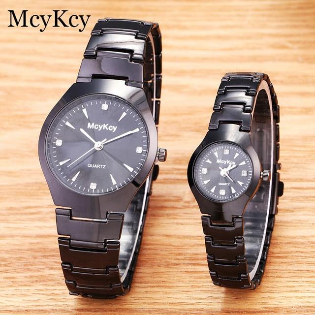 McyKcy Brand Luxury Lover Watches Quartz Dress Women Men Watch Black Steel Coupl