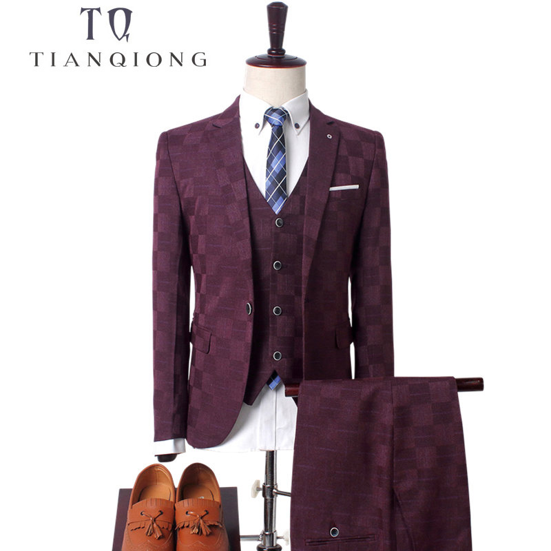 Men's Wedding Business Casual Suits Sets /Men Three-piece Suits Male Vest+Blazers+pants Suit Coat Jacket Trousers Waistcoat